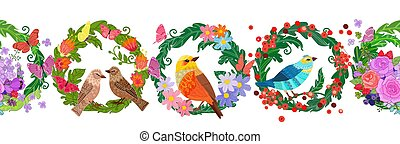 horizontal seamless border with floral wreaths. birds and flying