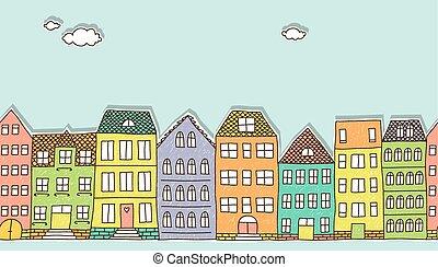 Horizontal seamless doodle houses p