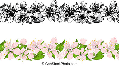 Horizontal seamless pattern with cherry blossoms