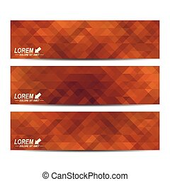 Horizontal set of vector banners. Background with brown triangles. Web banners card, vip, certificate, gift, voucher. Modern business stylish design