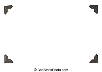 Horizontal shot of four Black Photo Corners In rectangular Format. White background.