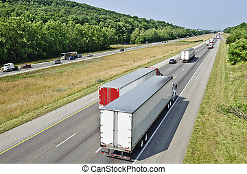 Busy Interstate Truck Traffic - Horizontal shot of Busy...