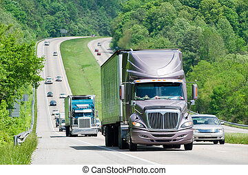 Heavy Traffic On Interstate Highway - Horizontal shot of...