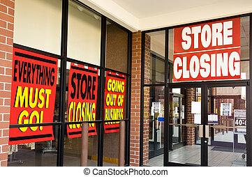 Store Closing Signs - Horizontal shot of Store Closing...