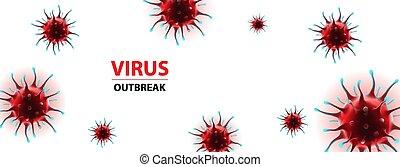 horizontal, social, epidemia, virus, bandera, medios, ...