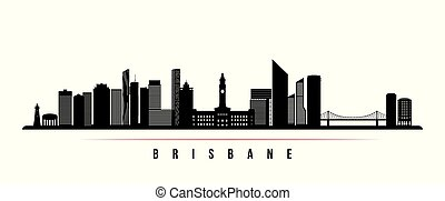 horizontal, stadt, banner., skyline, brisbane