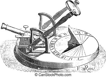 Horizontal sundial, cannon pedestal, vintage engraving.