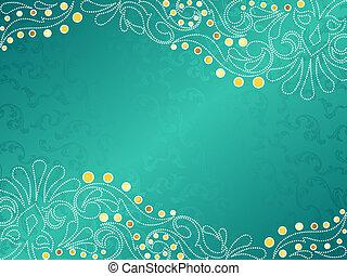 horizontal, turquoise, délicat, fond, tourbillons