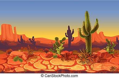horizontal, vecteur, seamless, paysage, désert
