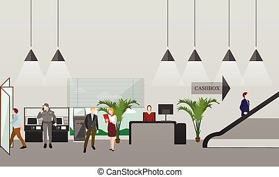 Horizontal vector banner with bank interiors. Finance and...