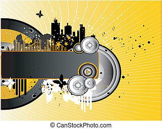 Music Background - Horizontal Vector Grunge Music Background...