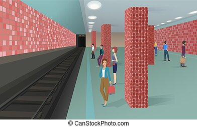 Horizontal vector illustration of the people standing in the subway and waiting for a train.