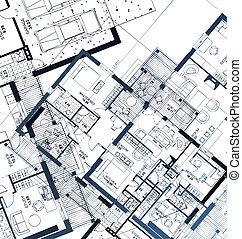 horizontal, vector, ilustración, blueprint.