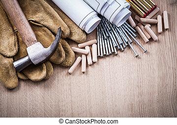 horizontal, version, de, bois, mètre, doigts, construction,...