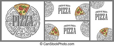 Horizontal, vertical and square poster with monochrome and colorful slice and whole pizza.