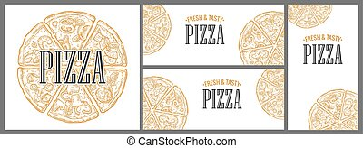 Horizontal, vertical and square poster with monochrome slice and whole pizza