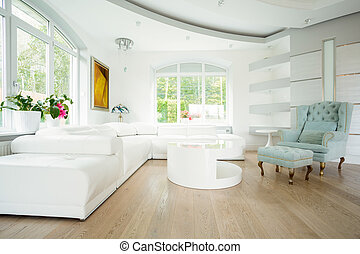 Horizontal view of expensive and bright interior