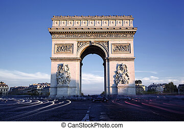 Horizontal view of famous Arc de Triomphe, Paris, France