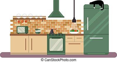Horizontal view of modern furniture in luxury kitchen design interior flat illustration.