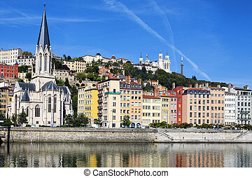 Horizontal view of Saone river in Lyon city