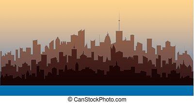 horizontal, ville, paysage., brun, silhouettes, de, bâtiments