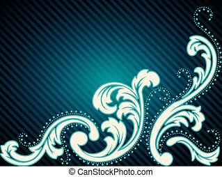 Horizontal vintage rococo background - Elegant deep blue...