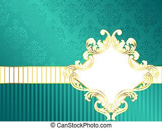 Horizontal vintage rococo label - Elegant turquoise label...