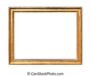 horizontal vitage wooden painting frame isolated - ...