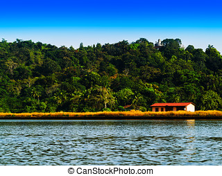 Horizontal vivid right aligned indian house on river landscape b