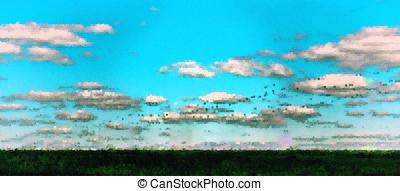 Horizontal vivid summer pixel dot landscape abstraction backgrou