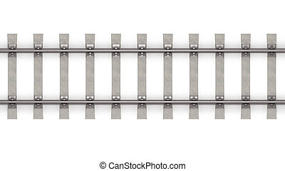horizontal, vue, sommet, 3d, rails