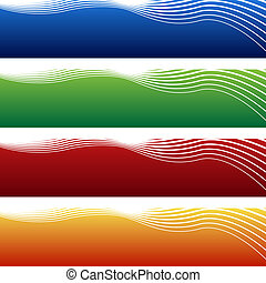 horizontal wave banner isolated on a white background.
