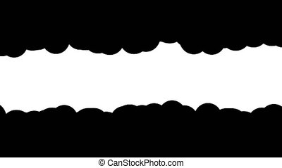 Horizontal wavy edge frame mask. Cartoon Swirling smoke frame. 2D looped animation with alpha channel.