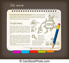 Horizontal web site template - Open notepad with colorful ...