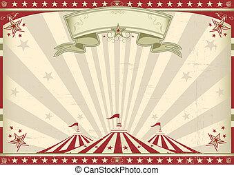 horizontal, weinlese, zirkus