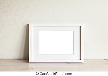 Horizontal white frame mockup - Image of a horizontal white...