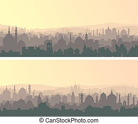 Horizontal wide banners of big muslim city at sunset.