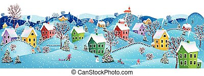 Horizontal winter banner - Winter rural landscape to a happy...