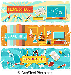 horizontale banner, schule, objects., abbildung