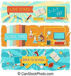 horizontale banners, school, objects., illustratie