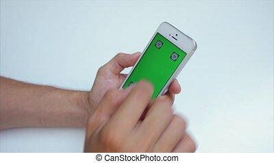 horizontalement, photos, écran, étiquettes, téléphone, iphone, blanc vert, vue, agrandir