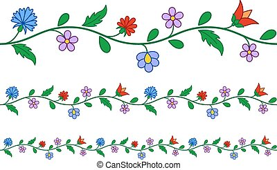 Horizontally seamless Hungarian embroidery pattern -...