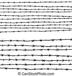 horizontalmente, alambre de púa