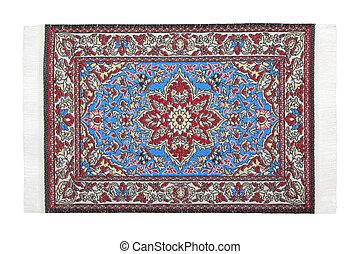 horizontalmente, red-blue, um, mentiras, oriental, fundo, branca, tapete
