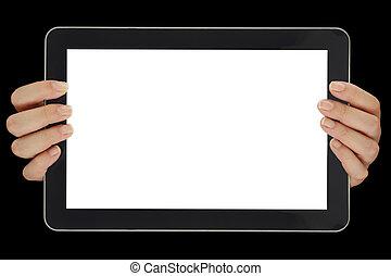 horizontalmente, tenencia, tableta, pantalla, manos, aislado, hembra, blanco