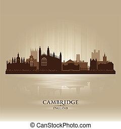 horizonte cidade, cambridge, inglaterra, silueta