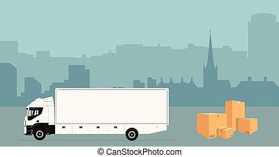 horizonte cidade, caminhão