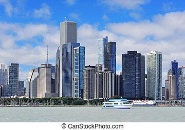 horizonte cidade, chicago, urbano