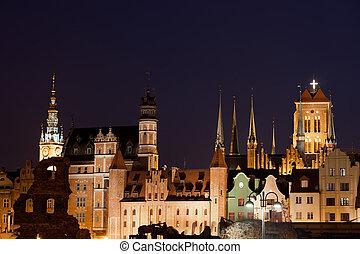 horizonte cidade, de, gdansk, por, noite, polônia