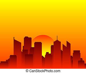 horizonte cidade, e, sol